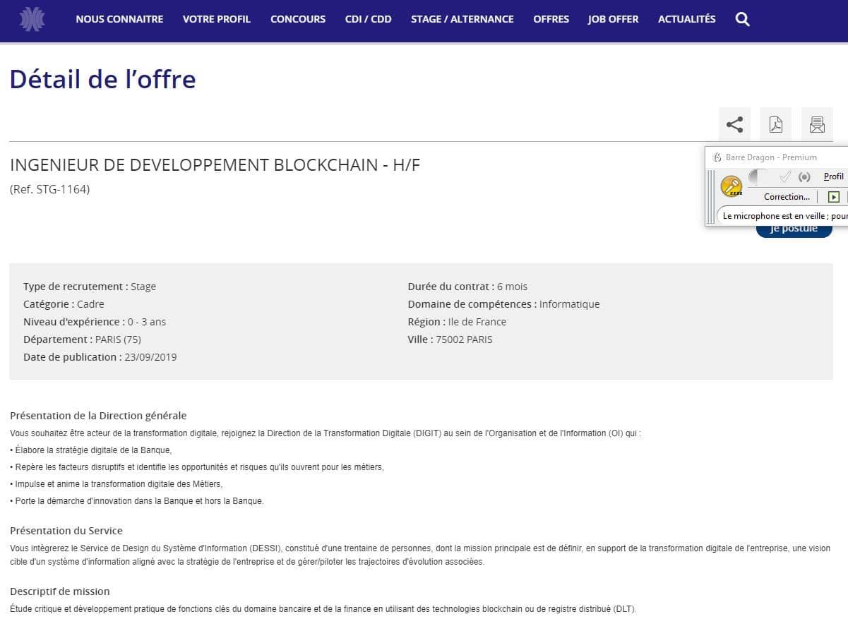 offre d'emploi blockchain de la Banque de France