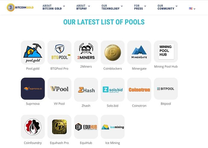 Liste des pools BTG