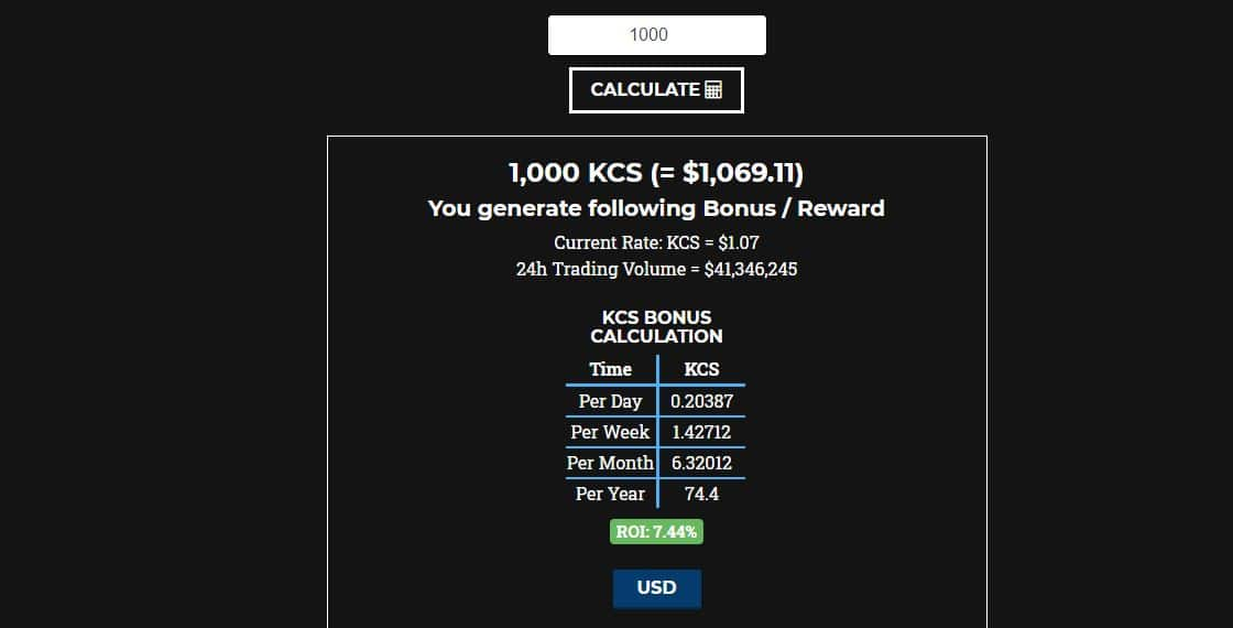 calcul du rendement actuel (22/11/2019) de KCS