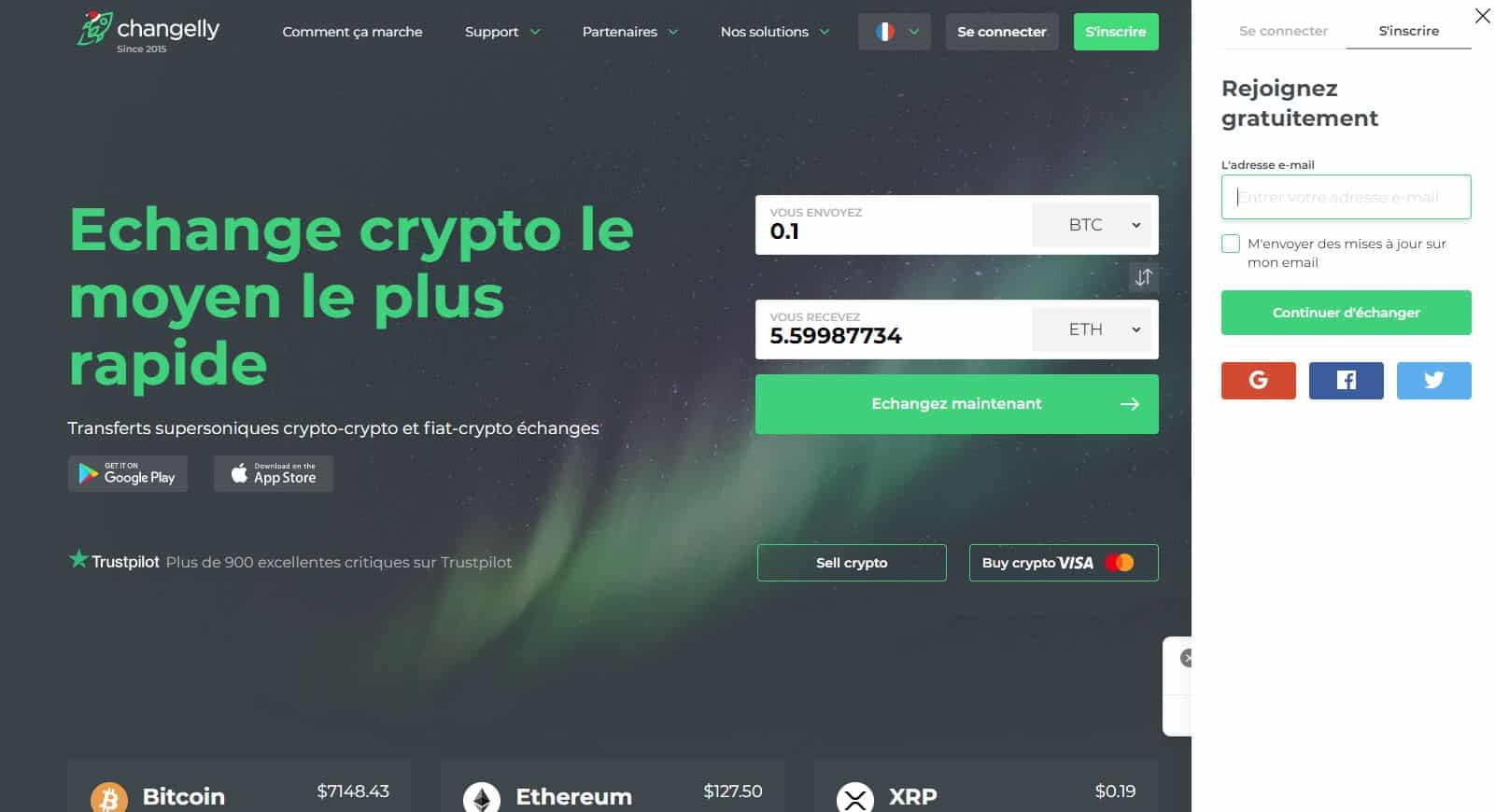 Inscription sur Changelly