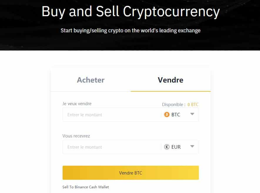 Vendre cryptos contre euro Binance